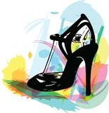 Abstract drawing of high heel female shoes. Vector illustration Royalty Free Stock Photos