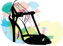 Abstract drawing of high heel female shoes. Vector illustration Stock Photo