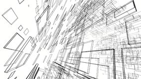 Abstract drawing lines in architectural art concept on white. Background, 3d illustration Royalty Free Stock Photography
