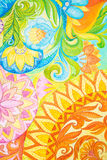 Abstract drawing oil paints on a canvas with floral ornament Stock Photography