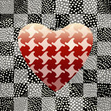 Abstract drawing  red hearts  pattern Pepita or houndstooth. Background square on background of polka dots  black and white , color  design print,  texture of Royalty Free Stock Photography