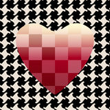 Abstract drawing red hearts, pattern Pepita or houndstooth background, square. On black and white , color design print, texture of love to fashion , seamless royalty free illustration