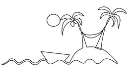 Lonely island one line drawing Stock Image
