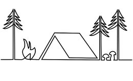 Picnic place one line drawing Royalty Free Stock Images