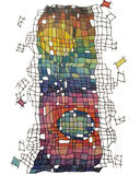 Abstract drawing of a tower of colored squares stock photography