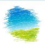 Abstract drawing vector landscape with green grass and blue sky - vector Royalty Free Stock Images