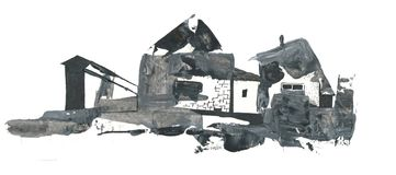Abstract drawing village houses, drawing with acrylic and pen. Abstract drawing of old, ruined village houses, black and white graphic drawing with acrylic and Royalty Free Stock Image