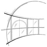 Abstract drawing of window. On white backgrownd Stock Photo