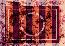 Abstract drawn grunge background with retro photo camera in brown, red colors. Royalty Free Stock Photo