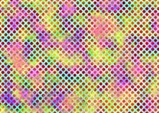 Abstract drawn watercolor colorful background with dots and brushstrokes. Stock Photography