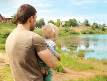 Abstract dream photo father and child together outdoors Stock Images