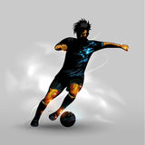 Abstract dribbling soccer ball. Abstract silhouettes soccer player dribbling soccer ball Royalty Free Stock Photography