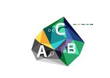 Abstract driehoeks laag poly infographic malplaatje Stock Afbeelding