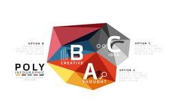 Abstract driehoeks laag poly infographic malplaatje vector illustratie