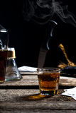 Abstract drinking scene. An abstract drinking scene with playing cards and a knife Stock Image