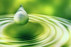 Abstract drop of water. On green Stock Photo