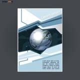 Abstract druka4 ontwerp met gekleurde driehoeken en kosmosthema, voor vliegers, banners of affiches over zilveren achtergrond Stock Afbeeldingen