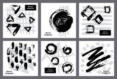 Abstract dry brush paint ink and marker strokes textures. Black and white art background templates stock illustration