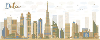 Abstract Dubai City skyline with color skyscrapers Royalty Free Stock Photo