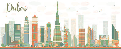 Abstract Dubai City skyline with color skyscrapers Stock Images