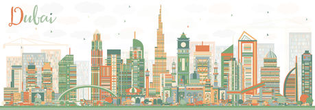 Abstract Dubai UAE Skyline with Color Buildings. Vector Illustration. Business Travel and Tourism Illustration with Modern Architecture. Image for Presentation Stock Photos