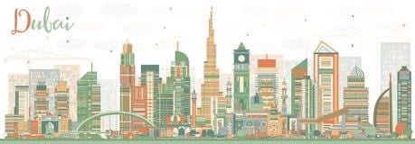 Abstract Dubai UAE Skyline with Color Buildings. Stock Photos