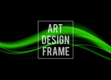 Abstract dynamic art design template. With green soft wavy lines in soft style on dark background. Vector illustration stock illustration