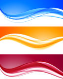 Abstract dynamic colorful wavy backgrounds set stock illustration