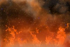 Abstract dynamic fantasy orange fire and smoke colorful background with sparks and fume Stock Photos