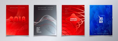 Football 2018 Russia World Cup SOCCER set. Annual report, headline. Football 2018 Russia World Cup SOCCER set. Abstract dynamic shapes pattern brochure covers Royalty Free Stock Photos