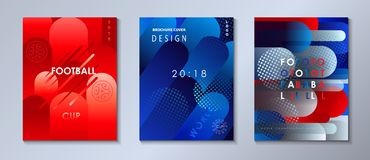 Football 2018 Russia World Cup SOCCER set. Football 2018 Russia World Cup SOCCER Abstract football tournament backgrounds set, geometric dynamic texture banners Royalty Free Stock Photo