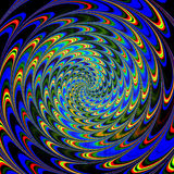 Abstract dynamic pattern of rotating red, green, yellow and blue concentric spirals Royalty Free Stock Image