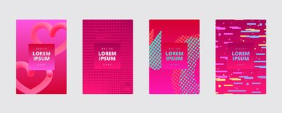 Abstract dynamic geometric vector background cover. Halftone dots. 3d hearts. Gradient covers. Stock Photography