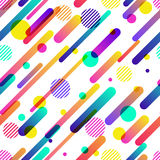 Abstract dynamic  seamless pattern. Colorful motion geometric shapes, overlapping background Royalty Free Stock Photo
