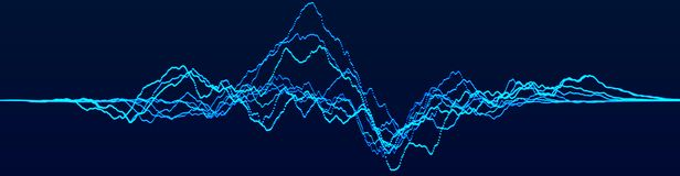 Abstract dynamic waves. Big data visualization. Sound wave element. Technology equalizer for music. 3d rendering royalty free illustration
