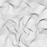 Abstract dynamical rippled surface. Black and white wireframe wavy stripes. EPS 10 stock illustration