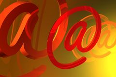 Abstract e-mail symbol. In the color background Royalty Free Stock Photo