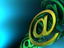 Abstract e-mail symbol. In blue background Royalty Free Stock Photography