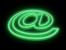 Abstract E-mail symbol in neon light Royalty Free Stock Image