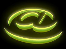 Abstract E-mail symbol in neon light. 3D abstract E-mail symbol in neon light Royalty Free Stock Photography