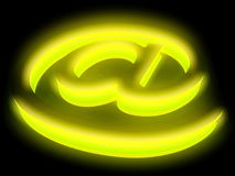 Abstract E-mail symbol in neon light. 3D abstract E-mail symbol in neon light Stock Photos