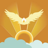 Abstract eagle flying with sunrise radiance and blue cloud ; sunshine bright illustration Stock Photography