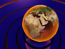 Abstract earth. Abstract 3d illustration with earth and rings with reflections Royalty Free Stock Photography