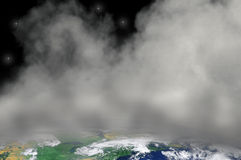 Earth Covered in Smog and Smoke Pollution. Abstract view of Earth from space covered in smog and smoke pollution Stock Images
