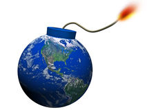 Abstract earth explosion. Abstract earth bomb imminent explosion stock illustration