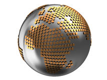 Abstract earth globe. 3d illustration of earth globe with golden hexagons Stock Photography