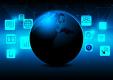 Abstract earth with mobile phone icon concept design Elements of this image furnished by NASA Stock Photography