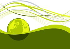 Abstract earth wavy lines. Abstract earth globe with green wavy lines royalty free illustration