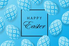 Abstract easter blue background with black frame for text. Creat. Ive 3D eggs with a pattern. Vector illustration Stock Images