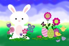 Abstract Easter Bunny, Eggs, Chicks & Butterflies Royalty Free Stock Photo